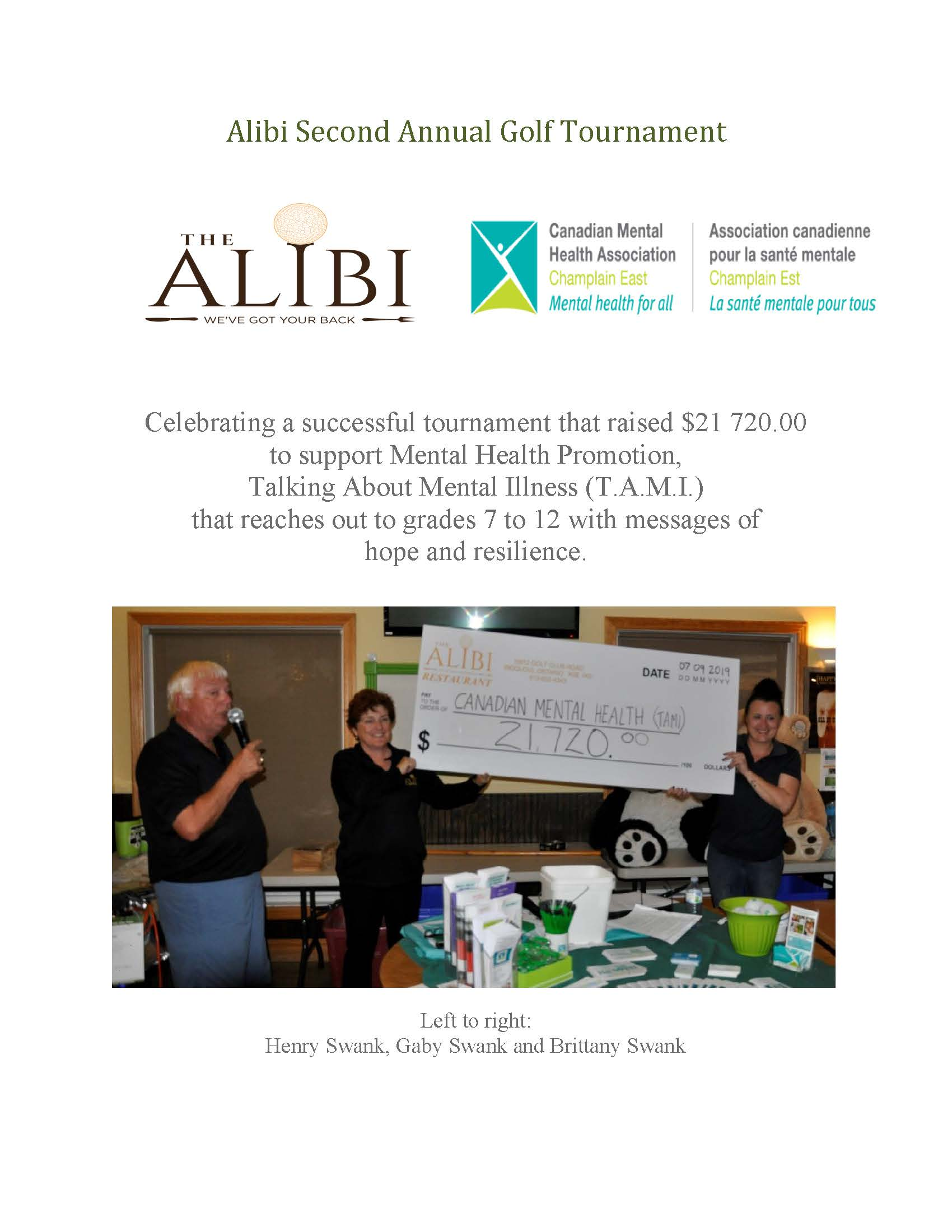 Alibi Second Annual Golf Tournament   2019 Thank you Page 1